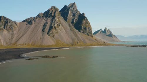 Vestrahorn Mountain and Stokksnes Beach From the Bay Iceland