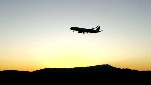 Commercial Airplane on Global Economy Transit Flight