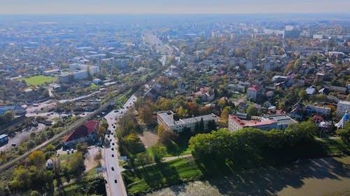 Extremely Beautiful Panorama a Old City From a Aerial View Transcarpathia Uzhhorod Ukraine Europe