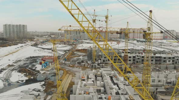 Thumbnail for Building of New Complex with Yellow Construction Cranes