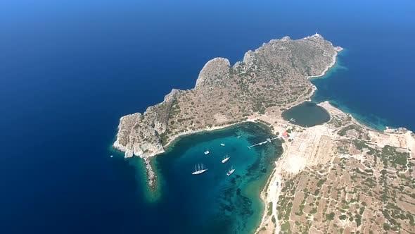 Thumbnail for Rocky Hill Peninsula And White Sailing Boats in Natural Marina