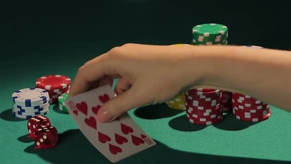 Thumbnail for Happy Female Poker Player Showing Best Poker Combination, Royal Flush Hand