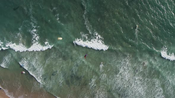 Aerial Drone Shot of a Beach Kiteboarders and Windsurfers (Waddell Beach, Pacific Coast Highway, CA)