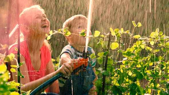 Cover Image for Mother Helping Son To Water The Garden With Hose