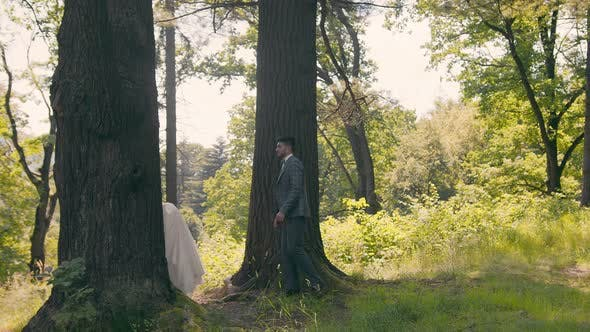 Thumbnail for Young Couple Who Met in the Woods Near the Trees on a Background of Sunlight. The Newlyweds Gently