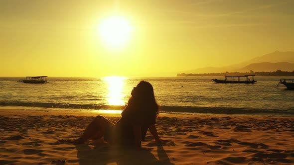 Thumbnail for Beautiful beauty model relaxing in the sun at the beach on paradise white sand and blue