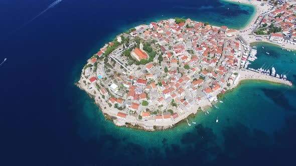 Thumbnail for Flying above famous dalmatian nautical destination, Primosten, Croatia
