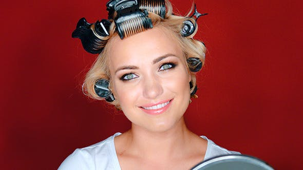 Thumbnail for Beautiful Woman In Hair Curlers