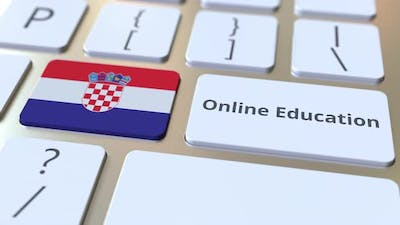 Online Education Text and Flag of Croatia on the Buttons