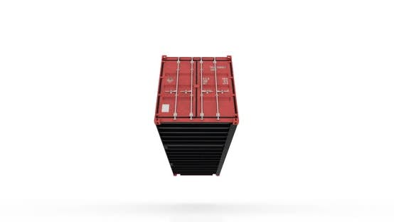 Cover Image for Red Shipping Container Falling on White Floor and Doors Opening
