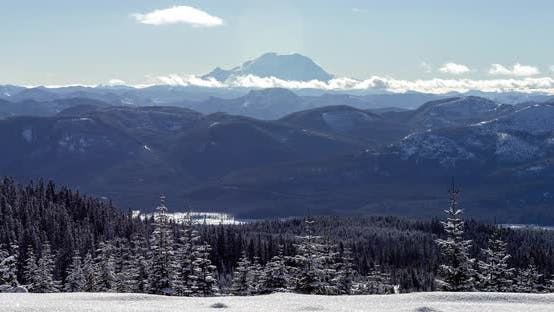 Thumbnail for Washington Mountains Winter Timelapse Zoom Out Of Mt Rainier From Snoqualmie Pass