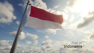 Indonesia Flag on a Flagpole