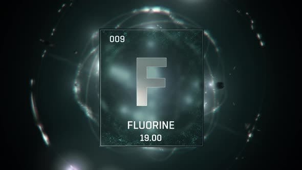 Fluorine as Element 9 of the Periodic Table On Green Background