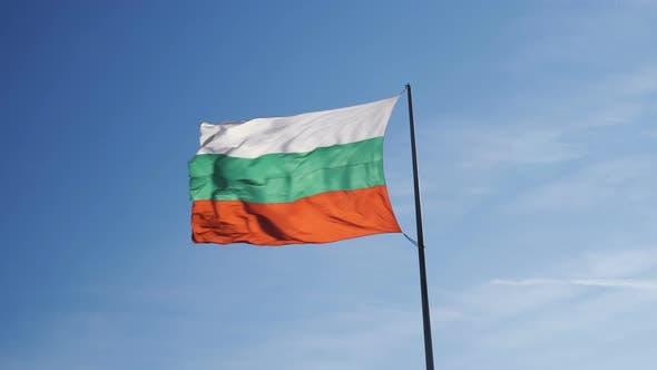 Bulgarian Flag Waving Fast in Strong Wind. Bulgarian Flag Symbol of Patriotism