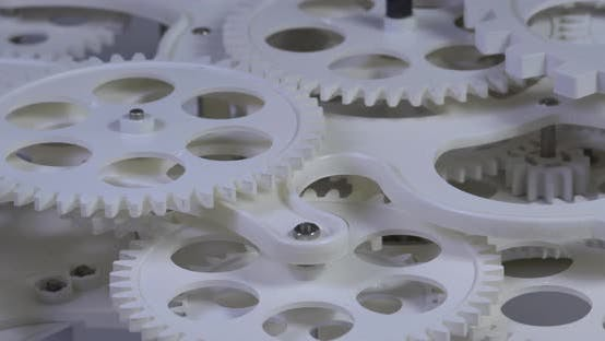 Thumbnail for Old White Color Gears Mechanism Rotation 10