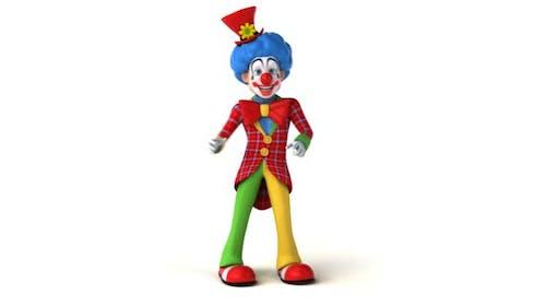 Fun 3D cartoon clown dancing