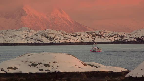 Thumbnail for Fishing Ship at Sunset in Norwegian Fjord
