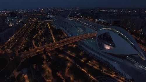 City of Arts and Sciences in Valencia at night, aerial view