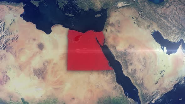 Realistic Earth Zoom Red Alert Highlight Country Egypt