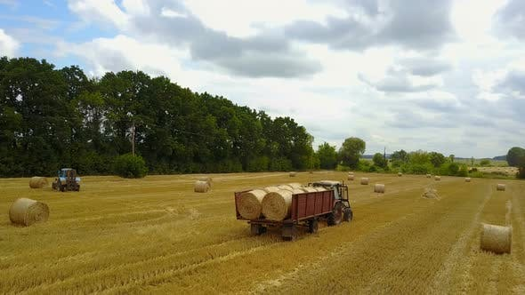 Thumbnail for Tractor Loading Hay Bales
