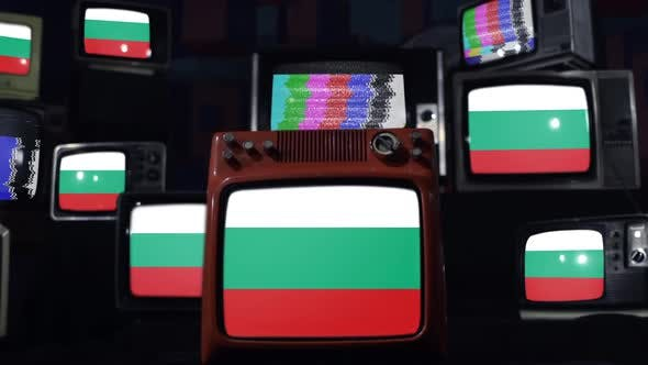 Bulgaria flags and retro Televisions.