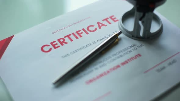 Thumbnail for Certificate Document Approved, Hand Stamping Seal on Official Paper, Validation