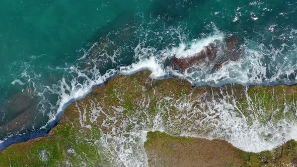 Thumbnail for Aerial View. Waves Crashing on Rocks.