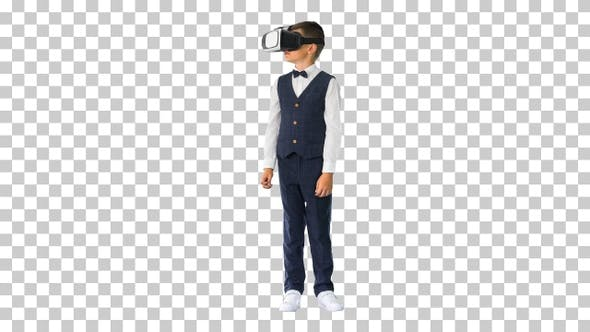 Excited boy in formal wear playing in, Alpha Channel
