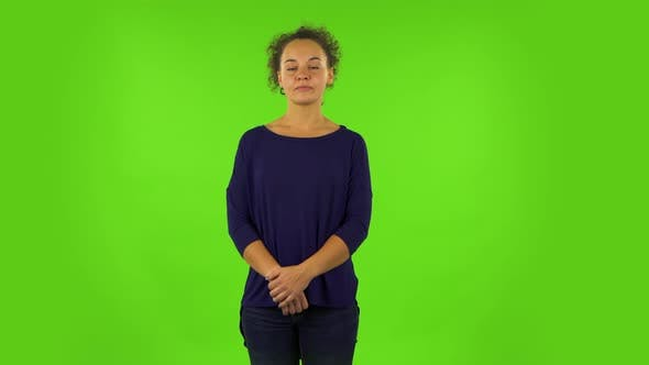 Thumbnail for Curly Woman Standing Waiting with Boredom. Green Screen
