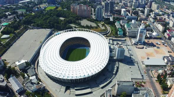 Thumbnail for Fly Over the Olympic National Sports Complex Aerial Footage. Summer 2019 in Kiev. Olimpiyskiy