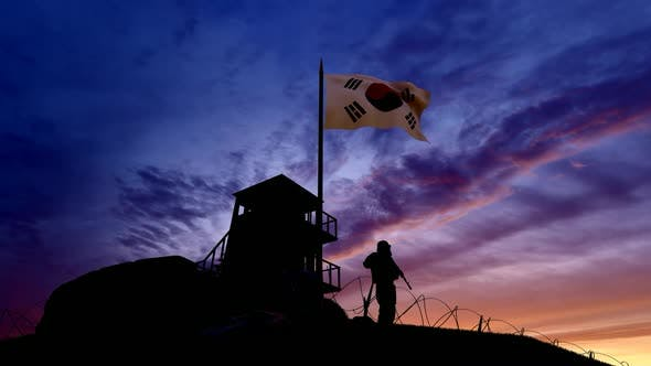 Thumbnail for Korean Soldier On The Border At Night At The Border