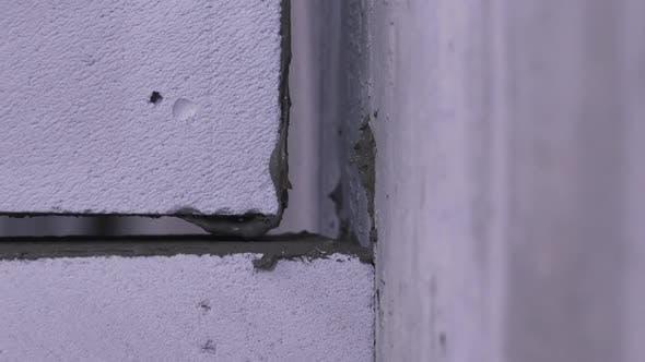 Laying Brick on Concrete Close-up