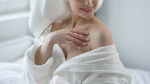Charming Lady in Bathrobe and Towel Relax Enjoy Selfcare Beauty Procedures