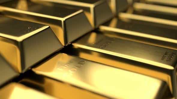 Thumbnail for Close-up View of Fine Gold Bars with Interesting Play of Light and Shadow