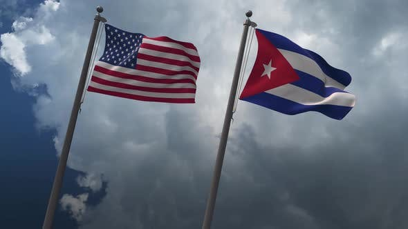 Waving Flags Of The United States And The Cuba 4K