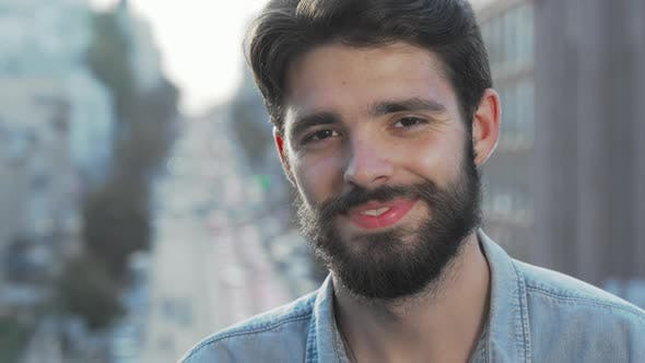 Thumbnail for Cheerful Handsome Bearded Man Smiling To the Camera
