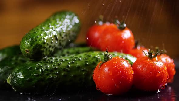 Thumbnail for Tomatoes and Cucumber With Drops of Water, Beautiful Macro , Raw Organic Vegetables. Organic. Food