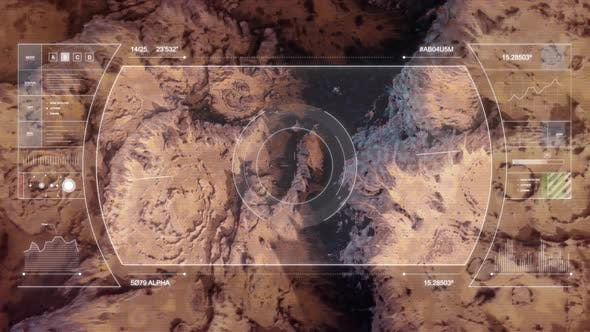 Mars Drone Flight - Top Down View with HUD Overlay B