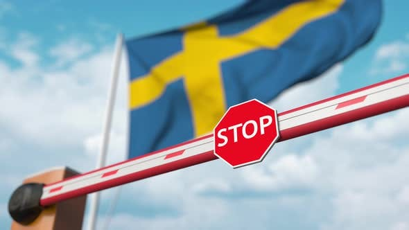 Thumbnail for Opening Boom Barrier with Stop Sign at the Swedish Flag