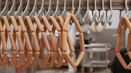 Meat Production and Food Industry, View of Ready Meat Products, Ready-made Pork Sausages, Production