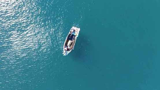 Thumbnail for Looking down onto a fishing boat