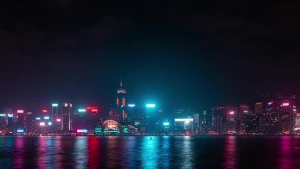 Thumbnail for Hong Kong city twilight night at riverside.