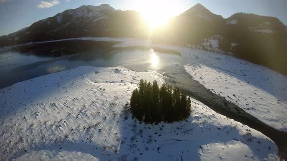 Thumbnail for Lake Keechelus Winter Aerial At Golden Hour In Mountain Landscape