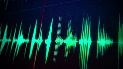 Green Audio Waveform on a Computer Screen