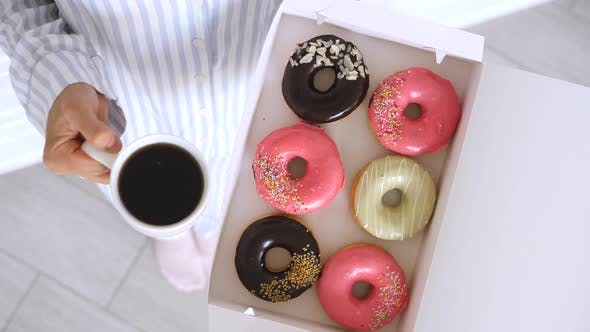 Perfect Morning With Coffee And Donuts