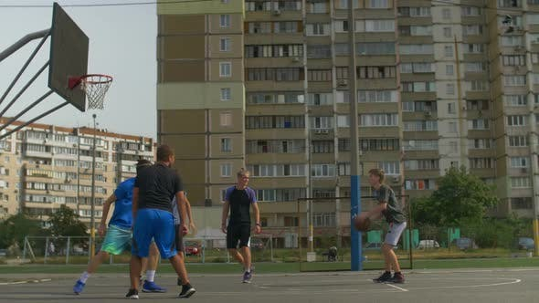 Thumbnail for Streetball Player Taking a Shot During Basketball Game