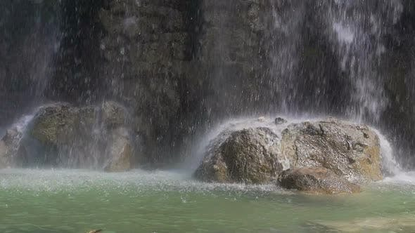 Thumbnail for Water Dropping on Stones, Waterfall in the Park of Castle Hill in Nice, France