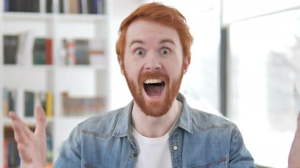 Thumbnail for Casual Redhead Man Celebrating Success