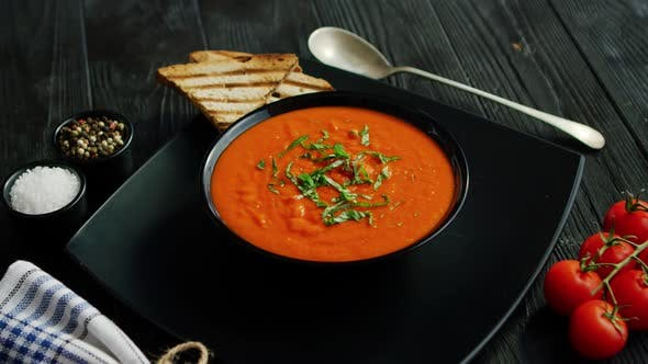Thumbnail for Tomato Soup in Bowl with Crisp Bread