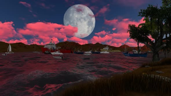 Thumbnail for Panorama of full moon and red clouds at night
